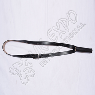 Flag Holder Belt Black Leather with Pin Buckle