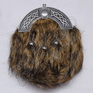 Fox Brown and Black Fur Full Dress Sporran With Celtic Design Cantle Black Color Filling