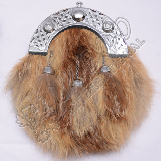 Fox Fur Full Dress Sporrans With Celtic Cantle and Three Tassels