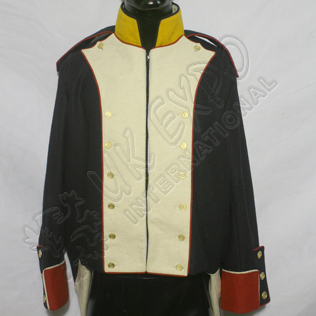 French Habit 1808 Black Coat with white front and red piping