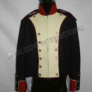 French Habit 1808 Dark Blue with white front and red piping