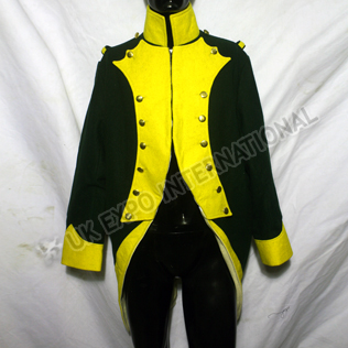 French Spanish Dark Green Coat with Yellow Collar and cuff