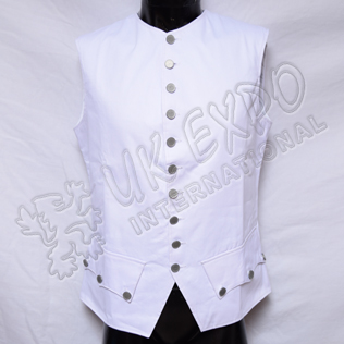 French White Cotton Vest with Plain Pewter Buttons