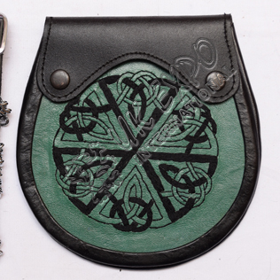 Front Green Hand Embroidery Celtic Sporran