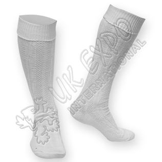 Plain Cuff White Fully Celtic Knot Chain Socks