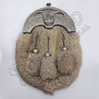 Full Dress Antique Coo Ox Cantle Gray Rabbit Fur Sporran