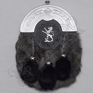 Full Dress Chrome Plated Cantle with Plain Cups Gray Multi Furr Lion Line Badge