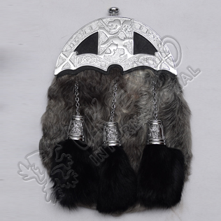 Full Dress Chrome Plated Rampart lion Cantles With Gray Multi Furr Sporran