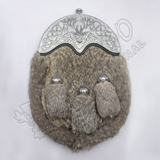 Full Dress Chrome Plated Stag Cantle Gray Rabbit Fur Sporran