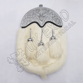 Full Dress Chrome Plated Stag Cantle White Rabbit Fur Sporran