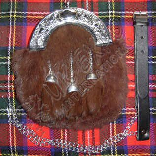 Full Dress Sporran Brown Rabbit Furr with Brown tessels with thistle cantle