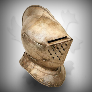 Fully Covered Medieval Head Armor in Ancient Brass