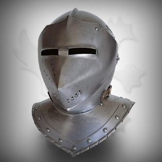 Fully Covered Medieval Head Armor in Ancient Silver
