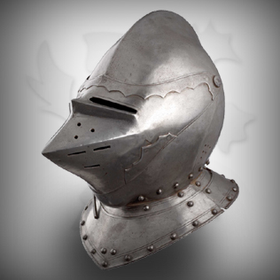 Fully Covered Medieval Head Armor in Ancient Warrior