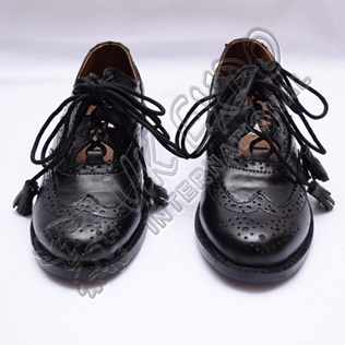 Ghillie Brogues Black PVC Dull Upper - Rubber Sole