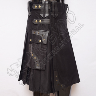Gladiator Men Black Utility Kilts with Black Leather
