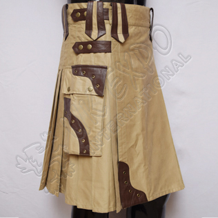 Gladiator Khaki Utility Kilts with Brown Leather