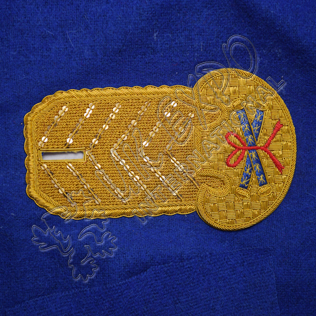 Gold Bullion Shoulder/Epaulette hand Embroidery on Royal Blue