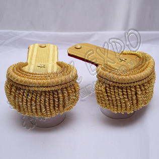 Brass Bullion Shoulders/Epaulette Pair Bullion Frings With Star
