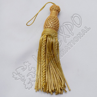 Gold bullion tessel long fringed hand made