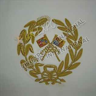 Gold Bullion Wire Hand Embroidery On White Leather Bag