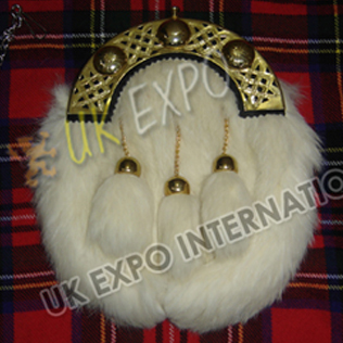 Gold Cantle 100 percentage White Rabbit Fur Sporran