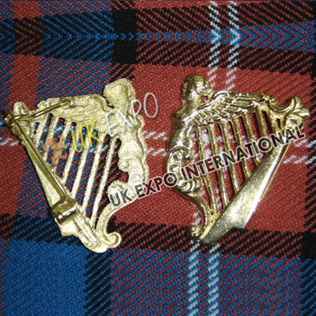 Gold Irish Harp Badge