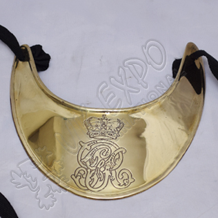 Gorget military with British crown over GR Brass Finish With Black Ribbon