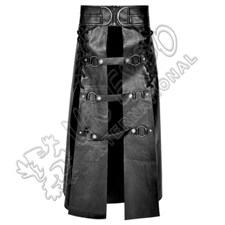 Domineer Long Utility kilts Black PU leather and Cotton
