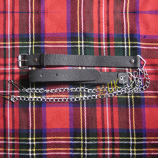 Graint Leather Belt with Chain