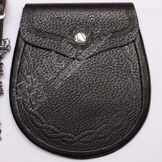 Graint Leather Double Celtic Embossed Sporran