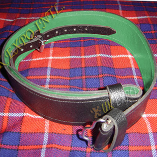 Graint Leather Kilt Waist Belt Green Backing