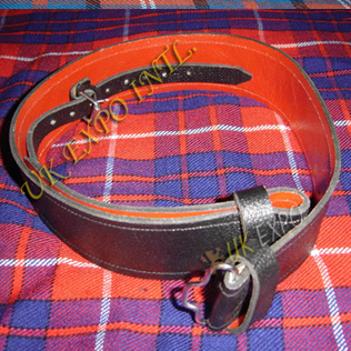 Graint Leather Kilt Waist Belt Red Backing