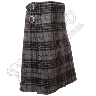 Gray Black Grey Watch Tartan Kilt