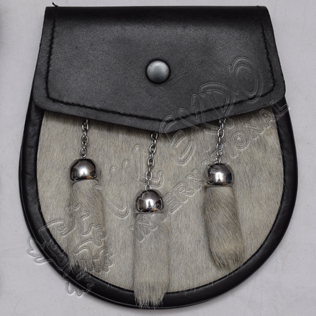 Gray Color Cow Skin with Simple Leather flap