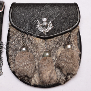 Gray Color Rabbit Fur Leather Sporran