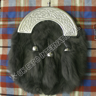 Gray color rabbit fur with Celtic Cantle Sporran