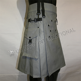 Men EXE Gray Utility Kilt With Sports Casual Pocket