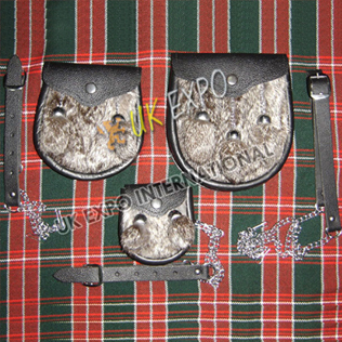 Gray Fur Family Pack 3 different sizes Sporrans