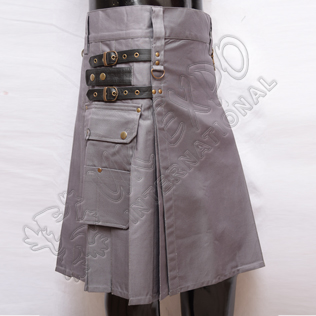Heavy Duty Gray Utility Kilts with 4 closing Straps