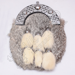 Gray Rabbit Fur Full Dress Sporran with 6 White Fur Tessels