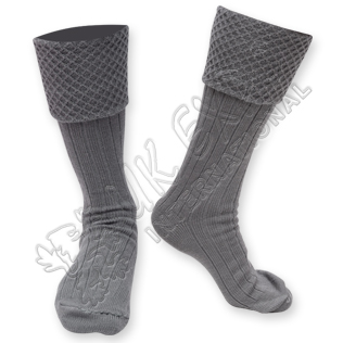 Diamond Cuff Men Gray Scottish Highland Wear Kilt Hose Socks