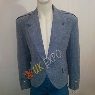 Gray wool argyle jacket