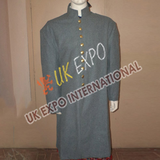 Great Coat Light Gray with Brass Plain Buttons