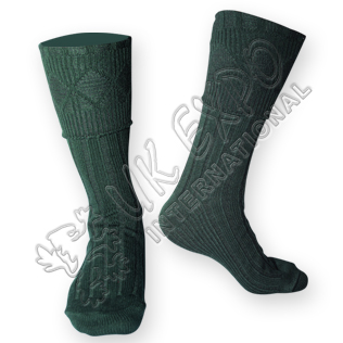 Rhombus Cuff Green Color Kilt Woolen Socks