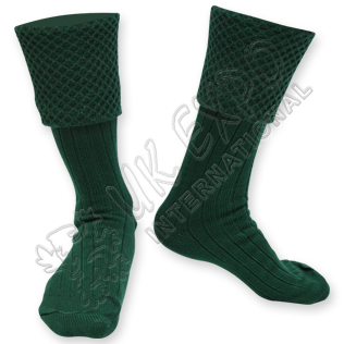 Diamond Cuff Men Green Scottish Highland Wear Kilt Hose Socks