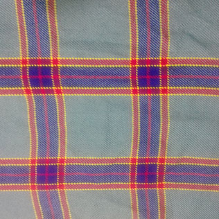 Grey,yellow,red and blue color tartan