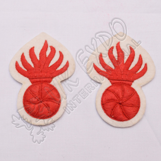 Hand Embroidery Off White and Red Grenade Badge