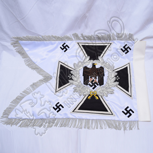 Heer Artillery Standard Trumper Banner Double sided Embroidery on White silk