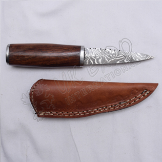 Hiking Knife Damascus Blade With Wooden Handle Nice Leather Cover
